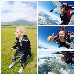 Jumping out the plane, freefall view and safely landed photo collage. this was 8.30 am october 21st 2015... still very clear view over cairns , stephanie_heuston - October 2015