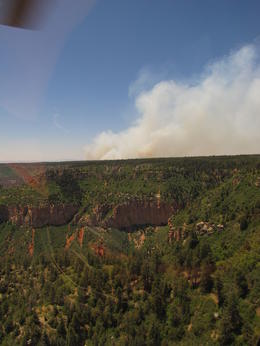 Photo of Grand Canyon National Park 45-minute Helicopter Flight Over the Grand Canyon from Tusayan, Arizona Fire at North Rim