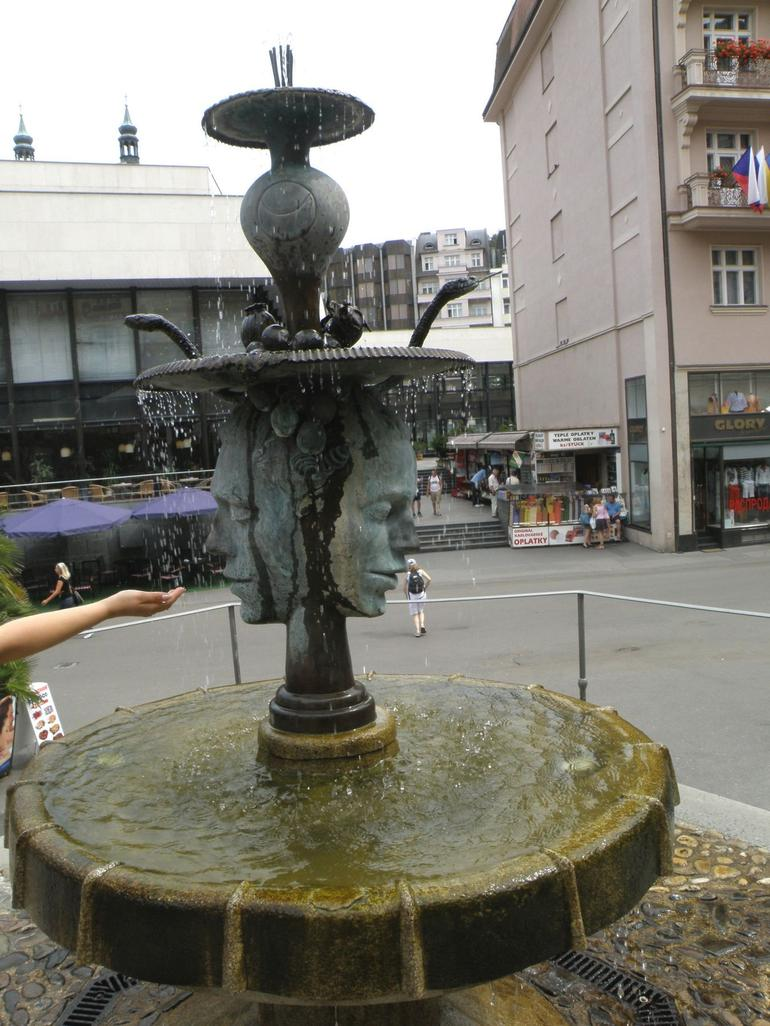 Karlovy Vary.Two faces fountain - Prague