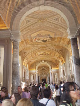 During the walk through Vatican museum. All ceilings and walls are decorated with pictures. , Kate A - June 2012