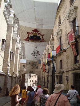 This is a major religious festival held in Toledo. A canapy is placed along the route of the procession of this annual event. , David F - August 2011