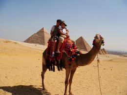 Gene and Khia rides a camel along the pyramids..., Genesis A - May 2010