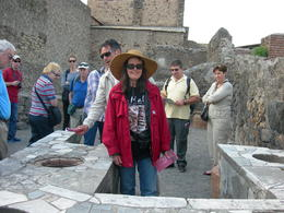 Me with our excellent tour guide behind me in Pompeii. , LEA ANNE G - May 2013