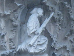 An angel playing the bassoon, one of the hundreds of figures decorating the facade. , Catharine A - April 2015