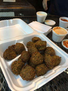 Photo of New York City New York's West Village Food Tour First stop - falafels with three dipping sauces.