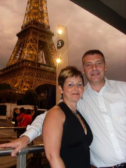 Us at the the Eiffel tower going for our meal which was excellent, Quentin M - September 2009