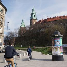 Riding towards the Castle in the Old Town of Kraków , Simon D - April 2014