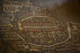 A close-up of a Byzantine-era mosaic map of the Holy Land in St. George's Church in Madaba, Jordan - November 2011