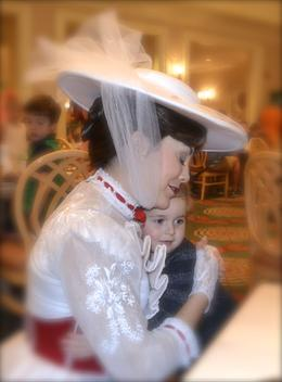 Photo of Orlando Disney Character Breakfast at Chef Mickey's Disney Contemporary Resort Mary Poppins giving our Princess a hug