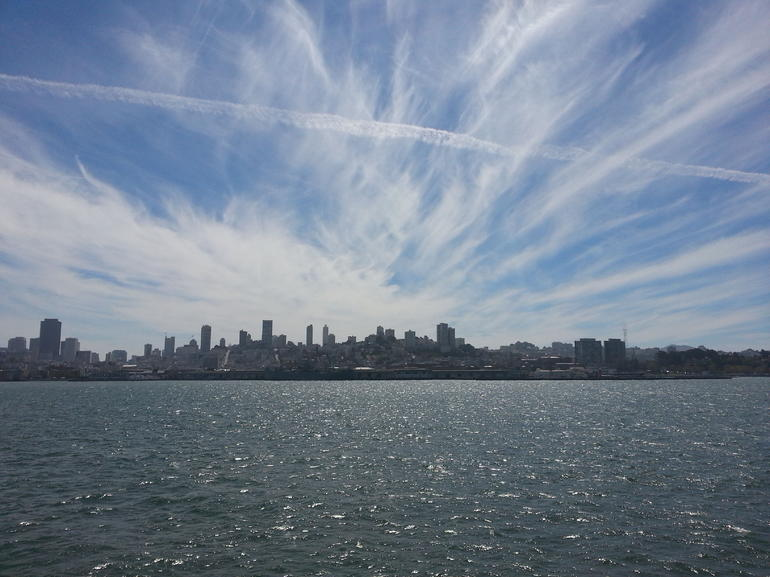 SF skyline from Blue  and  Gold Ferry from Sausalito - San Francisco