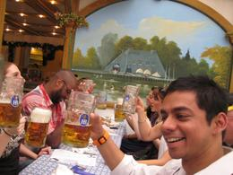 at the Hofbrauhaus with the tour gang..round # 2 of those 1 litre beer steins, singing along with the band., Mark A - October 2010