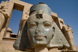 The giant head of Ramses II, Ramesseum, Luxor, Egypt - June 2011