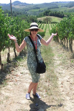 My daughter enjoying the beautiful Tuscan vineyards and countryside , Liblou - August 2013