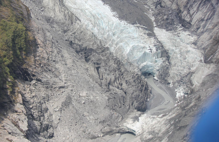 Glacier snout and meltwater channel - Franz Josef & Fox Glacier