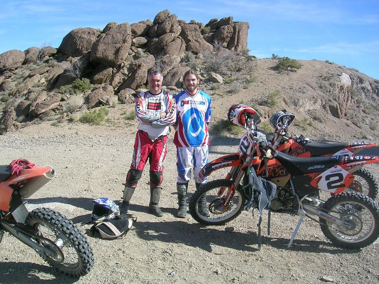 Age is no barrier. Haven't ridden for five years but still had it! Matter of mind over body. Felt alive again. (Until next day). This was our first break 10 miles into the desert. Dad.