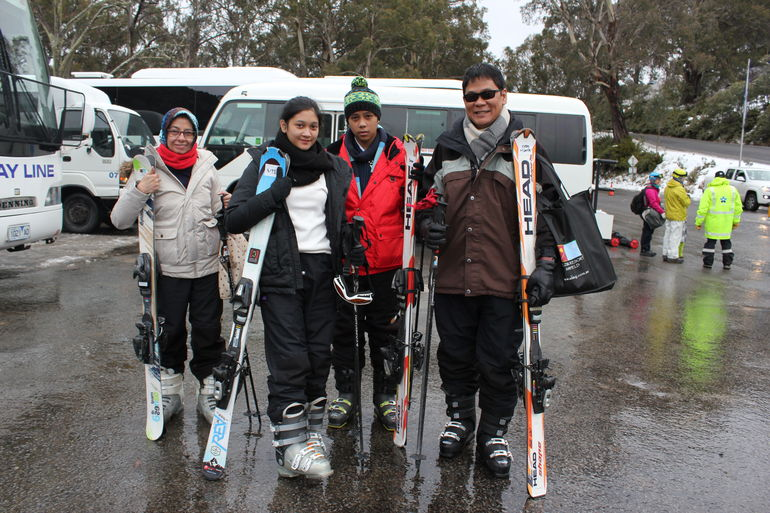 My husband, kids and myself, ready for skiing lessons