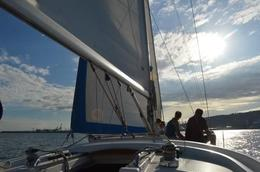 Photo of Barcelona Small-Group Mediterranean Sea Sailing Trip from Barcelona Nice sundet of Barcelona