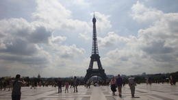 Photo of Paris Skip the Line: Eiffel Tower Tickets and Small-Group Tour The Eiffel tower between Paris rain.