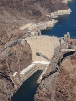 The Hoover Dam, and its partially completed bypass bridge. - May 2009