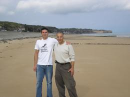 Mike and John on Omaha beach., John J - October 2007