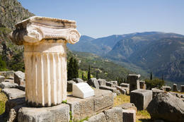 Column and ruins in ancient Delphi - May 2011