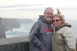 My husband, Dan, and I on a windy but beautiful day at the Cliffs. What a beautiful sight! , mieibella - October 2014