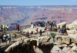 Photo of Las Vegas Grand Canyon South Rim Bus Tour with Optional Upgrades Tourists at Mather Point