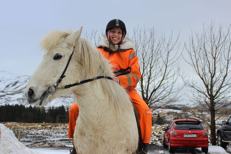 Riding a friendly Icelandic horse names Bones!