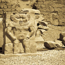 The god Bes statue, Temple of Hathor, Dendera - regarded as defender of everything good and enemy of all that is bad - June 2011