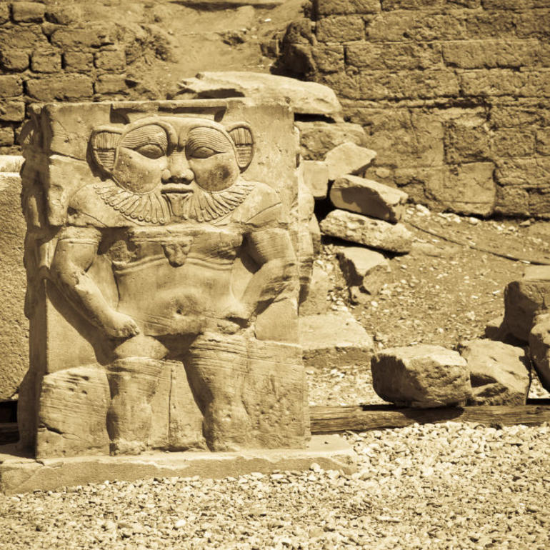 The god Bes statue, Temple of Hathor, Dendera - Luxor
