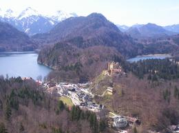 View from the walk near the Neuschwanstein Castle. Beyond the lake is the Austrian Alps (Tyrolean)., Julie N - May 2008