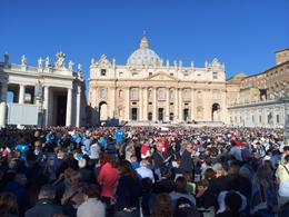 St. Peter's Square with 70,000 of our closest friends waiting to see Pope Francis , LInda J R - October 2013