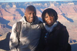 Photo of Las Vegas Grand Canyon South Rim Bus Tour with Optional Upgrades Me and my wife at the Grand Canyon