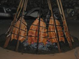 This is the salmon being cooked for our dinner over an alder fire, Undercover Américan - October 2010
