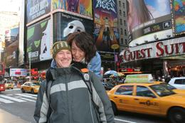Sean & Donna on surprise trip to new york, in back ground picture of phantom of Opera is another must do when in new york., Sean F - December 2009