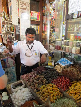 tour guide in front of spice shop , Nicholas W - May 2015