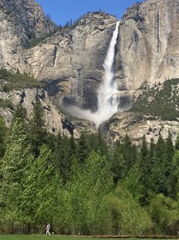 Photo of upper Yosemite falls taken from the tour bus. , Robert S - May 2016