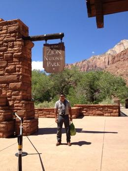 Photo of Las Vegas 7-Day National Parks Camping Tour: Zion, Bryce Canyon, Monument Valley and Grand Canyon South Rim Zion Park sign