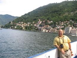 Photo of Milan Lake Como Day Trip from Milan Embarking the ship to start navigation in the Lake Como