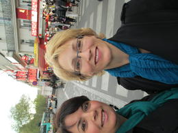 Julie and Kerrie outside the Moulin Rouge for a great birthday dinner and show , JULIE H - April 2012