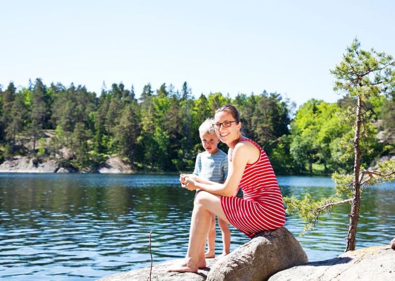 Mother and son enjoying sunshine in Stockholm Archipelago - Stockholm
