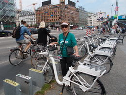 Ingrid S. selecting just the right smart bike for a guided tour of the city. , norske2004 - July 2015