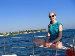 My daughter on the corner perch of the catamaran. - June 2013
