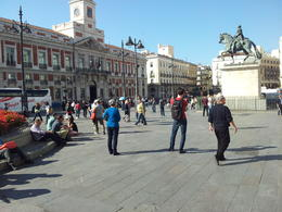 The square is next door to one of the stops on the bus tour-this is the dead center of Spain! , David S - October 2013