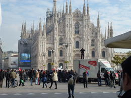 Photo of Milan Milan Half-Day Sightseeing Tour with da Vinci's 'The Last Supper' duomo during a protest