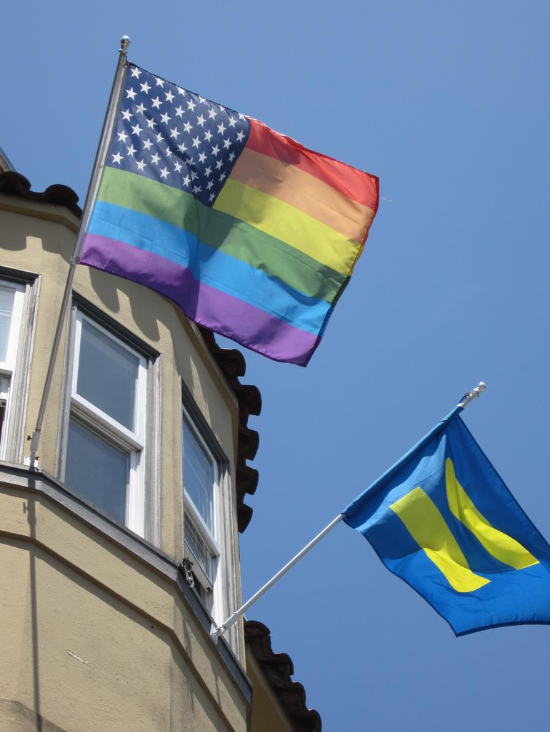 US Rainbow & HRC Flags.JPG - San Francisco