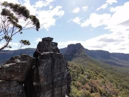 Photo of Sydney Blue Mountain Small-Group Day Hikes from Sydney Climbing around Ruined Castle