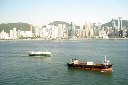 HK Harbor traffic - taken from the window of the InterContinental Hotel on Kowloon, George G - July 2009