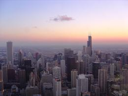 View of Sears Tower from the top of Hancock Tower during sunset , Leah - May 2011