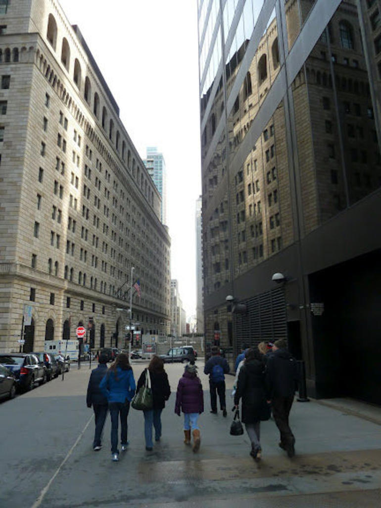 The Wall Street Experience - walking on the tour - New York City